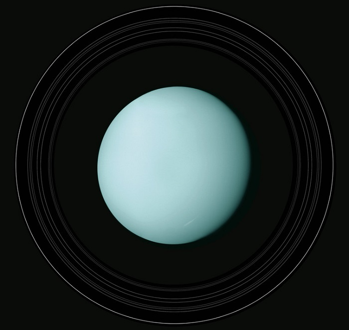 A view of Uranus, light blue in colour and with thin rings around it