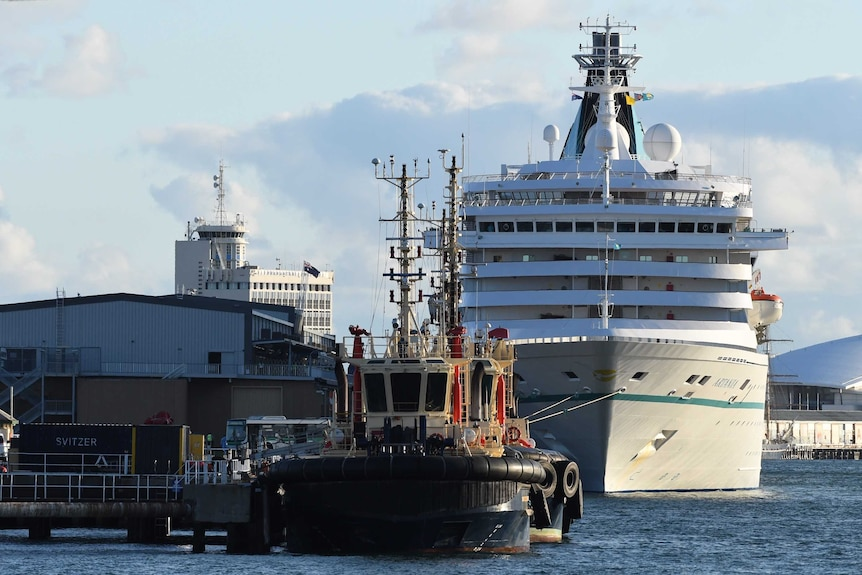The Artania docked in Fremantle Port