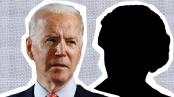 A graphic showing Democratic presidential nominee Joe Biden and a silhouette of a woman