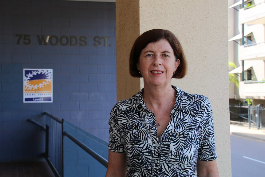 Linda Weatherhead outside Darwin Community Legal Service.