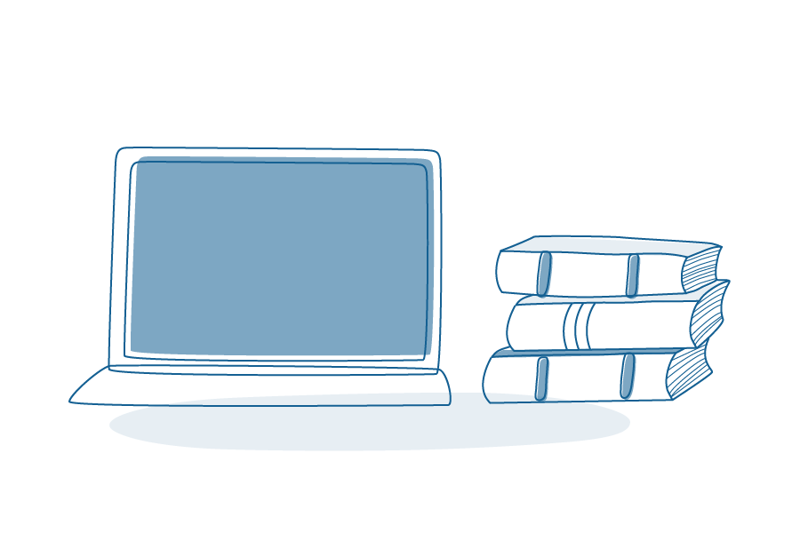 Illustration of laptop and books piled on top of each other.
