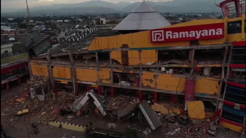Buildings left flattened in Palu
