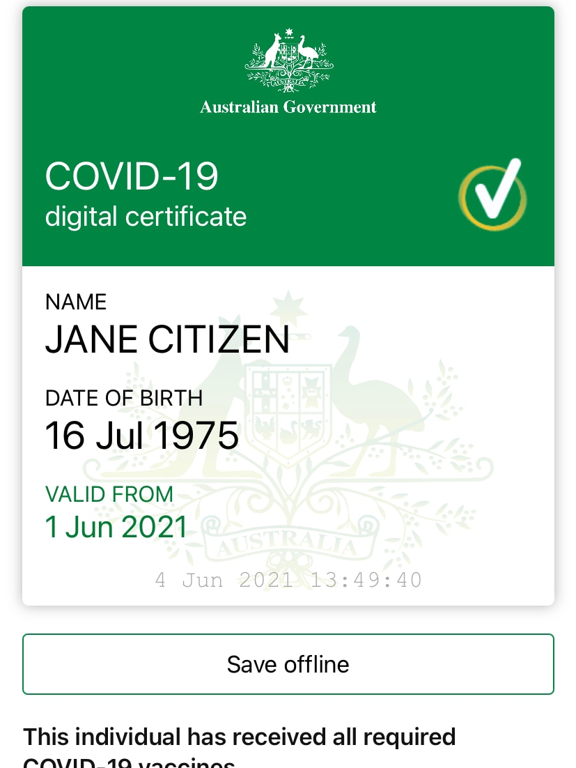 A green and white screenshot of the Australian Government COVID-19 digital certificate