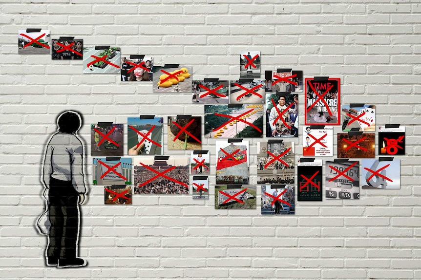 Censored images of the Tiananmen massacre hang on a wall forming the shape of a tank.