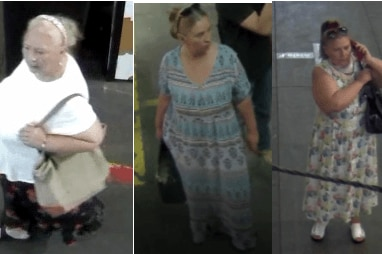 A composite image from CCTV of three women in shops.