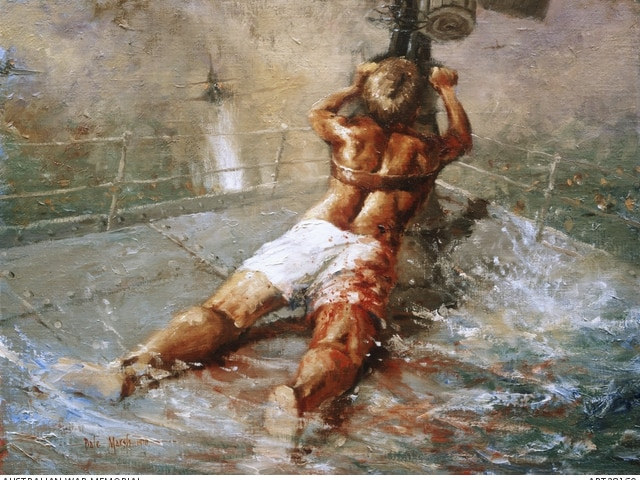 Dale Marsh's painting of Ordinary Seaman Teddy Sheean depicting him strapped to a gun on HMAS Armidale.
