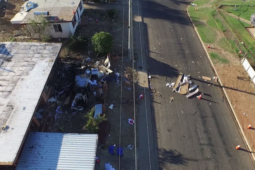 Aerial vision shows the damage done by a fatal caravan explosion