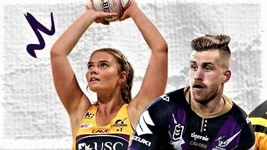 Poster image of two sports player — a netballer and a rugby league player.
