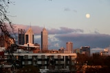 Super moon over Perth skyline