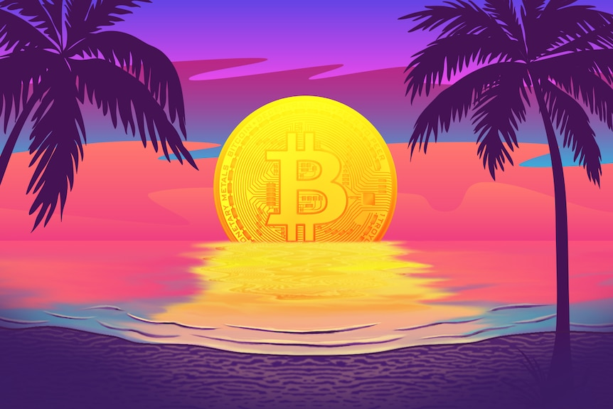 Vector illustration of giant bitcoin setting between two palm trees.