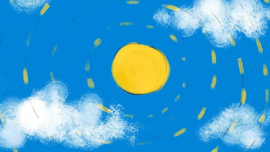 Drawing of a hot sun in a blue sky