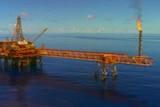 An oil rig at sea