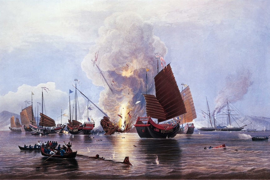 An illustration shows British ships destroying an enemy fleet in Canton, 1841, during the first Opium War.