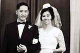 Humphrey and Anita pose for a wedding photo.