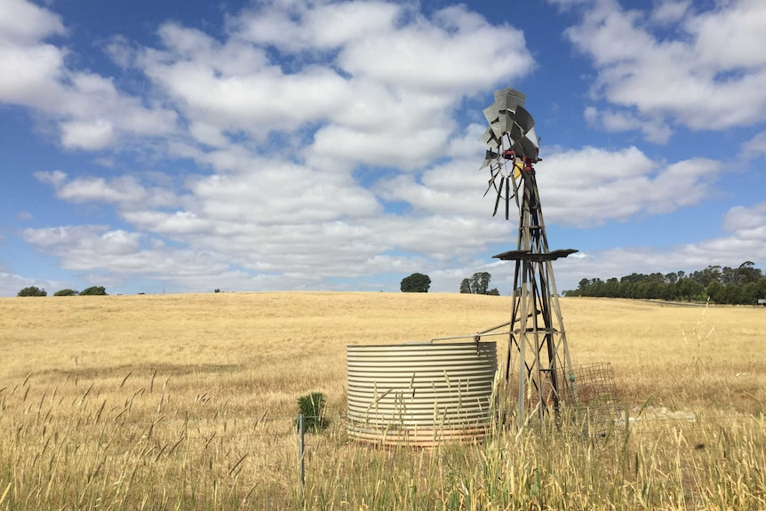 A windmill and a water tank in a dry paddock.