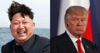 A composite photo of Kim Jong-un and Donald Trump.