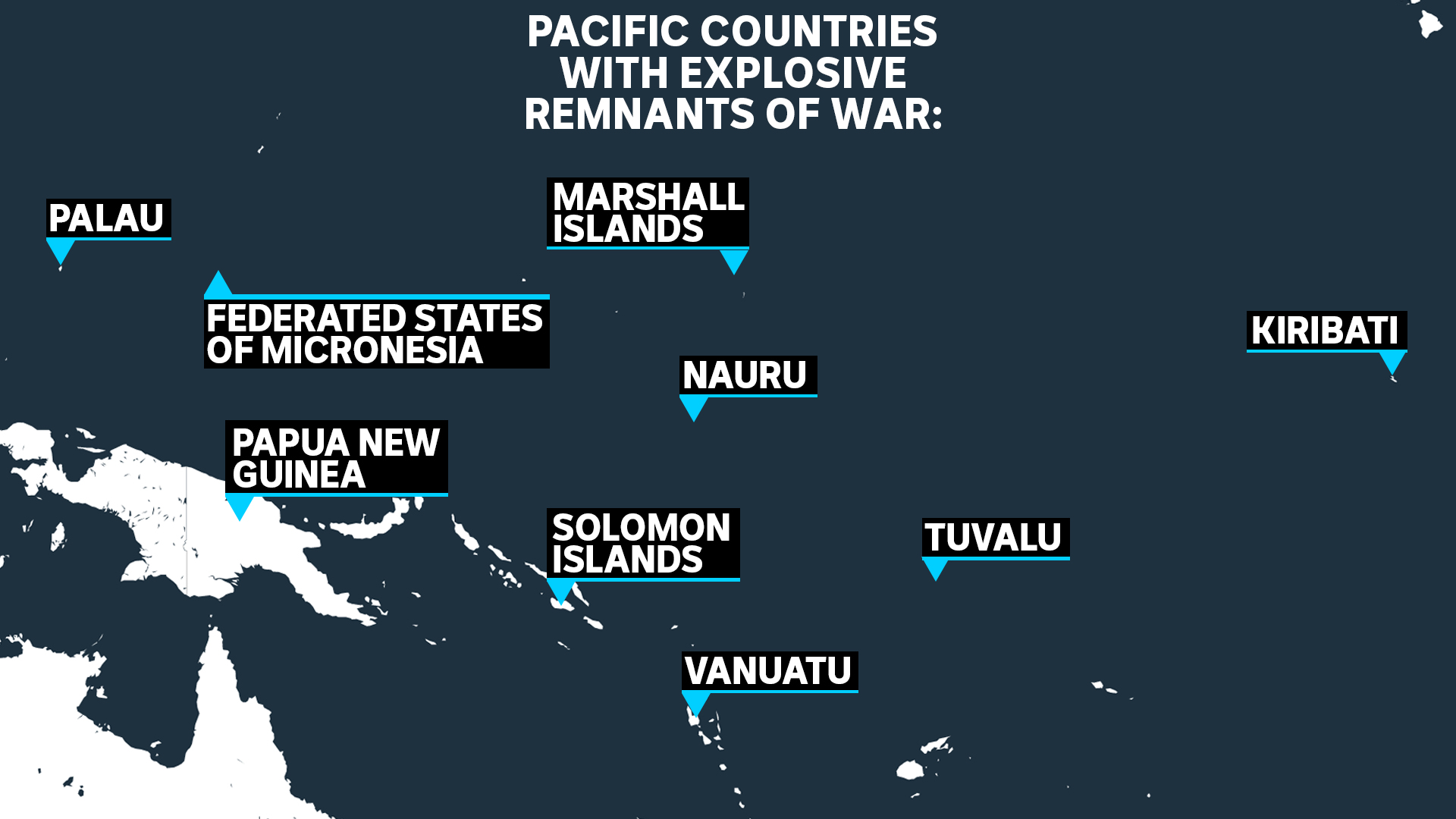 Map of Pacific countries with explosive remnants of war