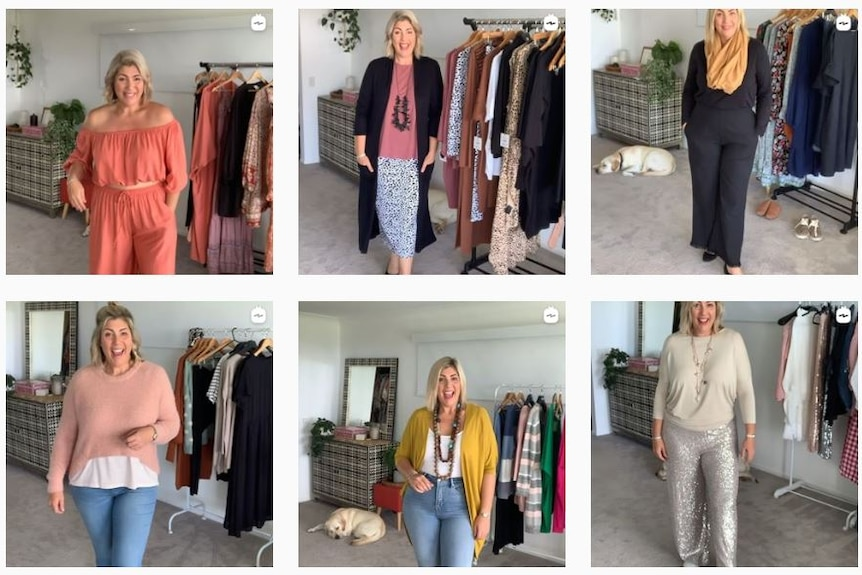 A collage of the same woman who is size 16 trying on different outfits.