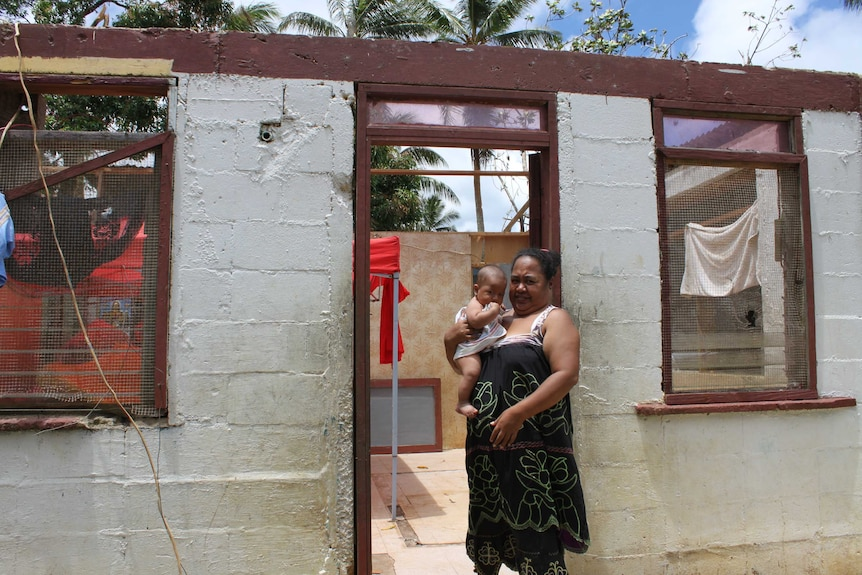 A damaged home in Chuuk state