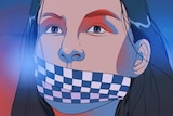 An illustration shows a close-up of a woman's face, police tape across her mouth