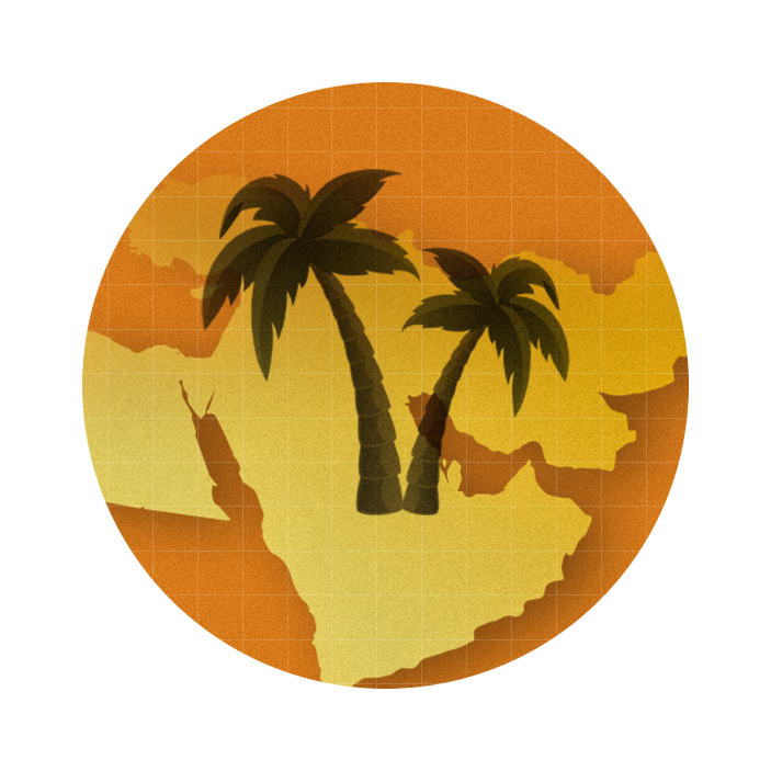graphic with an orange circle in the middle of which sits some palm trees in saudi arabia
