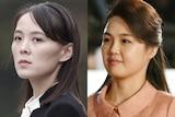 A composite image of Kim Yo-jong and Ri Sol-ju