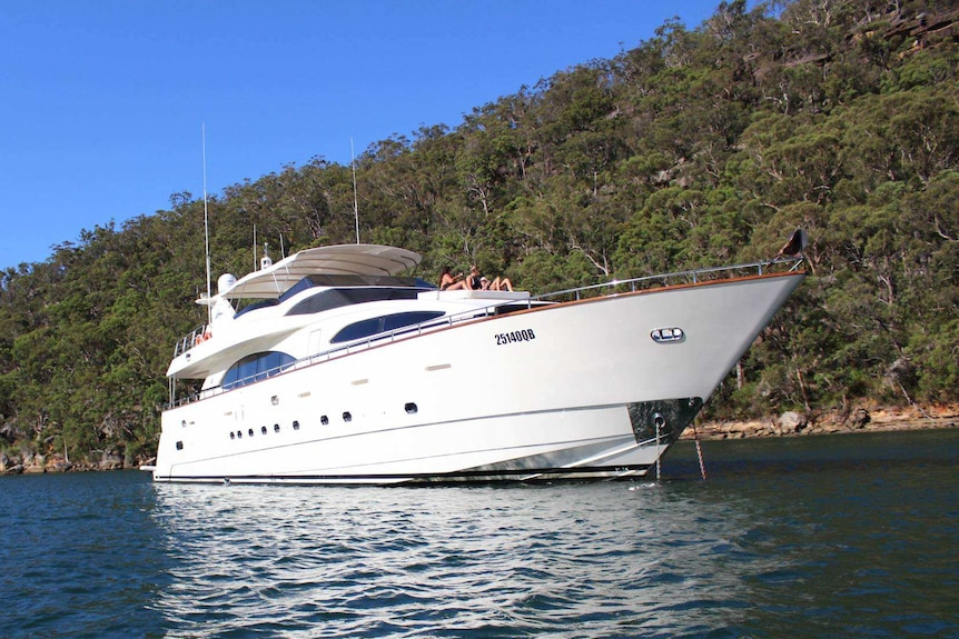 A white superyacht is anchored in front of bushland
