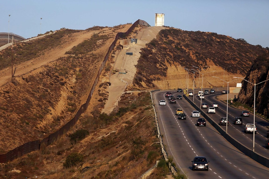 A view of the wall dividing mexico and the us in tijuana.