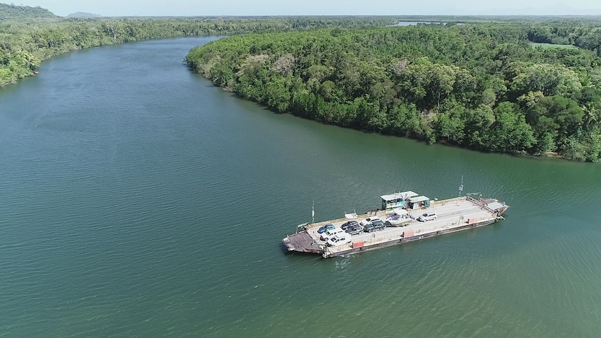 Aerial photo of car ferry on Daintree River