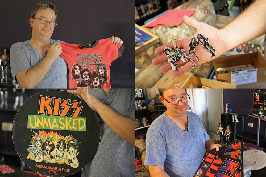 A composite image of collector Paul Neilson and some of his collectable KISS merchandise