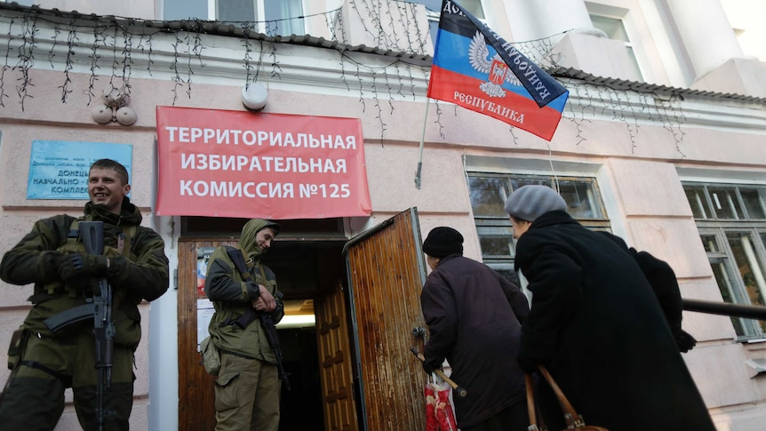 A polling station in Donetsk