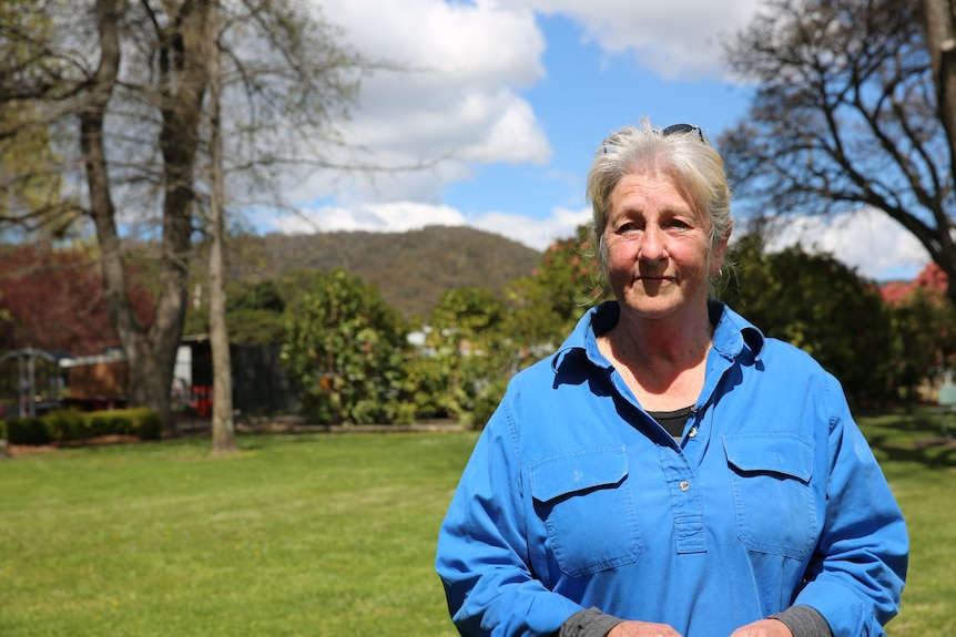 A woman in a blue shirt is standing on the grass behind the trees.