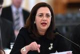 Queensland Premier Annastacia Palaszczuk speaks forcefully at a budget estimates hearing.