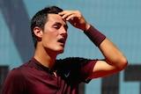 Bernard Tomic shows dejection against Fabio Fognini in Madrid