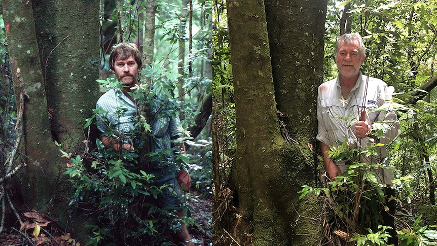 A side-by-side shot of the same man standing next to the same tree, but on the right the man is 25 years older.