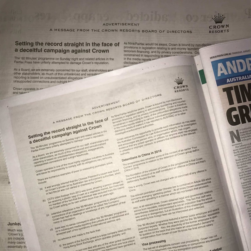 """Full-page newspaper advertisements headed """"Setting the record straight in the face of a deceitful campaign against Crown""""."""