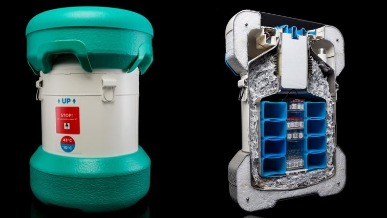 The Arktek device (left) and shown in cross-section (right)