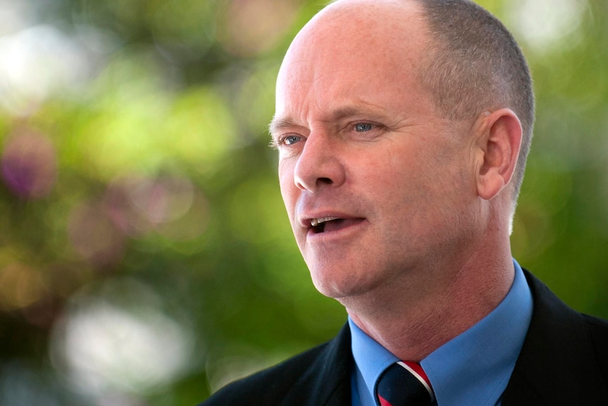 Campbell Newman speaks to reporters.