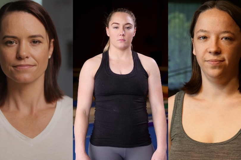 Composite of three gymnasts, Kirsty-Leigh Brown, Mary-Anne Monckton, and Emily Little.
