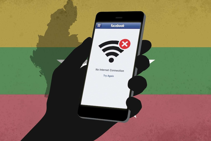 A graphic showing no internet access on Facebook against a backdrop of the Myanmar flag.