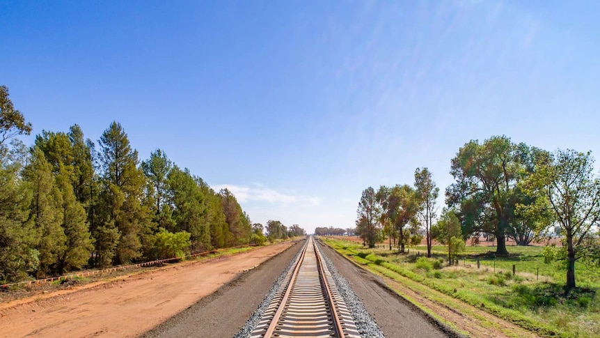 An image of a freshly laid rail track