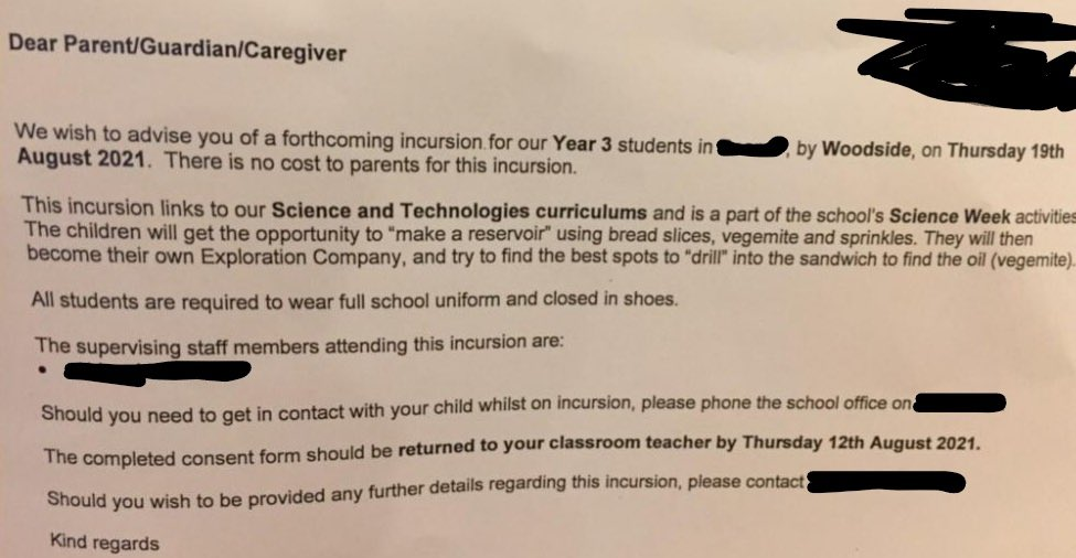 Letter to parents about Woodside incursion at Perth primary school.