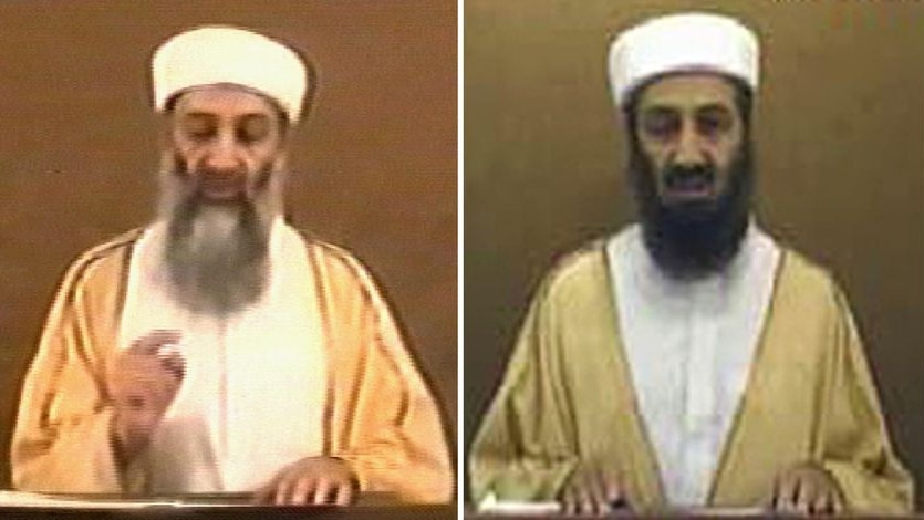 Contrast: Osama bin Laden in a 2004 video (l) and in the new video (r)