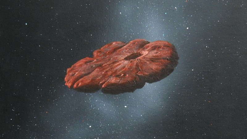 Am illustration of Oumuamua.