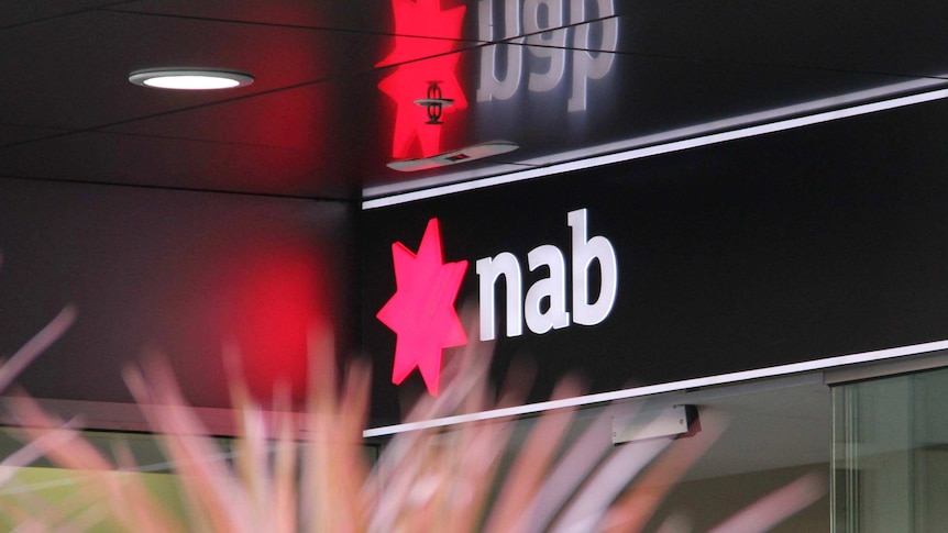 An NAB bank logo outside a branch in Brisbane