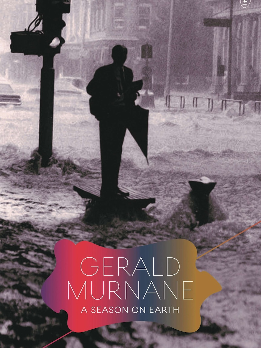 The book cover shows a black and white image of a man on a flooded city street.