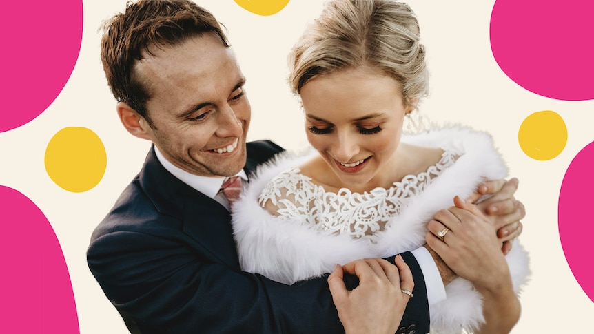 Treated image of Ben and Sarah on their wedding day
