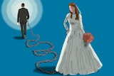 An illustration shows a bride chained to her husband.