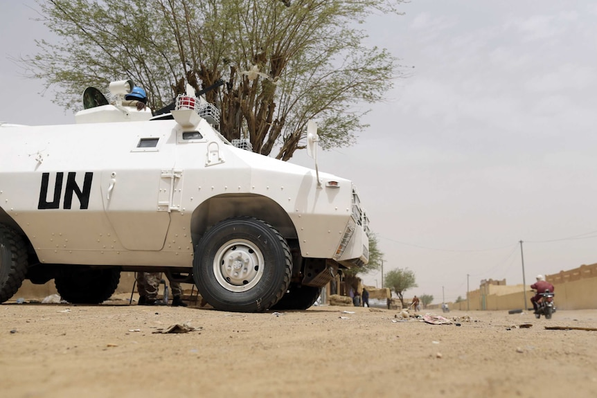 A UN vehicle on the ground.