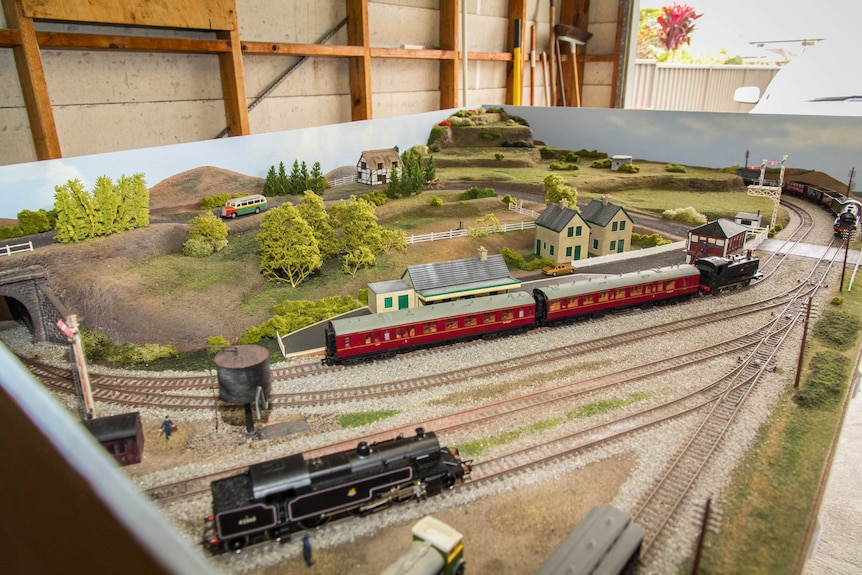An aerial view of a model railway.